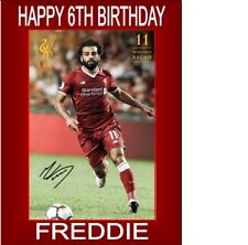 """PERSONALISED MOHAMED SALAH CAKE TOPPER A4 ICING SHEET 10""""X8"""" ANY AGE NAME"""