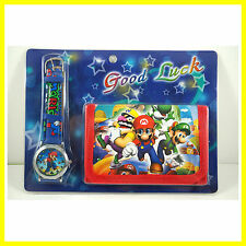 NESEST Super Mario Bros. Luigi Yoshi Kids Boys Wrist Watch and Purse Wallet SET