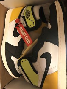 Jordan 1 Retro High White Black Volt University Gold size 10.5
