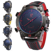 Shark Men's Leather LED Digital Date Day Analog Quartz Sport Army Wrist Watch