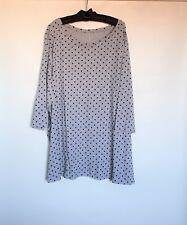 NWT WOMAN WITHIN Gray Polka Dot Cotton Rayon Blend  3/4 Sleeve Blouse Sz 1X