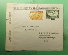DR WHO 1944 BELGIUM CONGO LEOPOLDVILLE TO USA WWII CENSORED  g39116