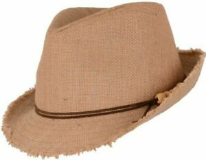 Straw Trilby Hat Sun Summer Paper Natural Fedora Festival Holiday Women Men's