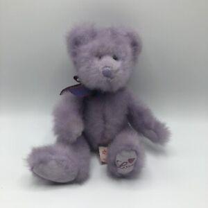 "Russ Berrie UK Aphrodite Lavender Bear Purple Haze 11"" Plush ""Love"" On Paw"