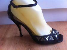Ladies Black Satin High Heels Size 7 EU 38 Triangle Diamontes Formal Stilettos