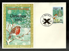 ISLE OF MAN 1982 CHRISTMAS BIRDS ROBIN CHRISTMAS CARD USED