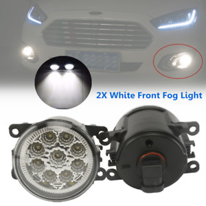 2*Full LED Front Bumper Fog Light Lamp 9LED Bulb Fit For Ford Nissan Mitsubishi