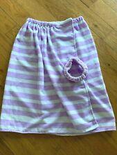 Girls Terry towel set purple stripe elastic towel wrap and matching headband