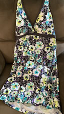 Women's Halter Dresskini Tankini Top Two Piece Swimdress Swimwear L Floral New