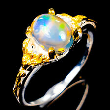 Handmade Natural Opal 925 Sterling Silver Ring Size 7.5/R120942