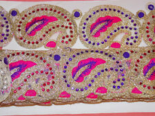 1 M 6.5 cm Or Rose Violet Cristal Indian Arabe Paisley galon dentelle mariage