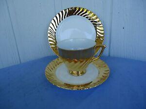 vintage 22ct gold trio cup & saucer plate set st. kilda Australia