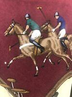 Vintage Polo By Ralph Lauren Necktie Horse Burgundy Beige Cream Brown Tie GUC