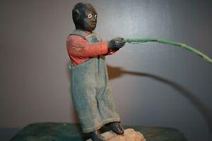 Antique African American Fishing Wood Carved Primitive Folk Art Sculpture Doll