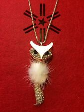 Women's Gold Plated Cute Fox Pendant Rhinestone Inlaid Fur Long Sweater Necklace