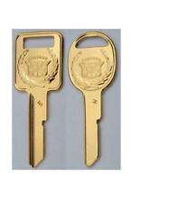 Seville Original NOS E & H Gold Cadillac Crest Wreath Key Blank Set B44E B45H