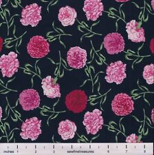 Flower of the Month January CARNATIONS BLACK Northcott Fabric By the FQ - 1/4 YD
