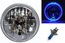 "7"" Halogen LED Blue Halo Angel Eye Headlight Head Lamp H4 Light Bulb Motorcycle"