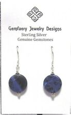 Sterling Silver Natural SODALITE Gemstone Dangle Earrings #2243...Handmade USA