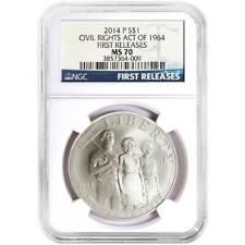 2014-P UNC $1 Civil Rights Act Silver Commemorative NGC MS70 Blue FR Label