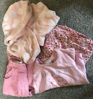BUNDLE GIRLS  12 - 18 MONTHS CLOTHES PREWORN PINK NEXT TOP CORDS HOODED COAT