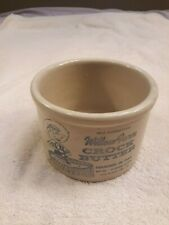 WILLOW FARM CROCK BUTTER LA GRANGE,ILL VINTAGE STONEWARE CROCK SMILING BOY PIC