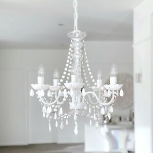 New Ivory & Deene Cassie Chandelier 5 Light White Crystals Glass Post French