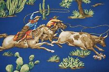 Braemore Textiles Fabric Ride Em Cowboy Demin SOLD BY THE YARD Horses Cowgirls
