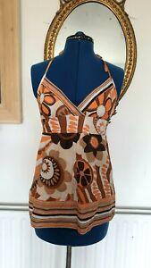 Halterneck Top, Orange, Floral Size 10 (B1)