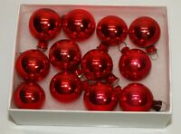 Vintage Glass Christmas Ornaments 12 RED BALLS Feather Tabletop Tree USA
