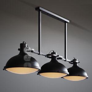 1 Set European Vintage 3 Lights Metal + Glass Hanging Lamp/Droplight Black