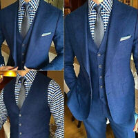 Men's Blue Wool Suits For Wedding Groom Tuxedos Wide Peak Lapel Formal Prom Wear