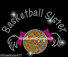 Basketball Sister Rhinestones Iron On Transfer Bling Applique