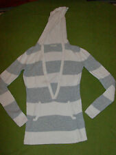 Ladies Old Navy V Neck Sweater Xs Extra Small White Gray Striped Angora Blend