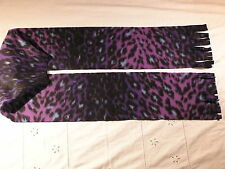 Dark Purple Varigated Leopard Skin Fleece Scarf Animal Print
