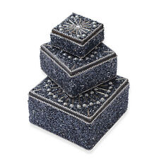 Set of 3 Gray Nested Open Fashion Women Top Clothing Beaded Jewelry Bling Box