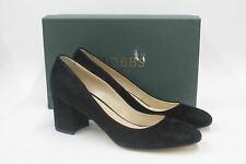 HOBBS Ladies Sarah Court Black Suede High Block Heel Shoes Size UK7 EU40 NEW