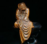 Collect Boxwood Netsuke carving Long eyebrow arhat Statue figurines buddha monk