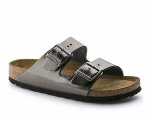 Birkenstock Arizona Metallic Anthracite Leather Sandals for Women Style 1000295N