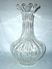 """Decorated Art Floral Glass Rib Vase with Ruffled Edging around Rim 12 1/2"""" Tall"""