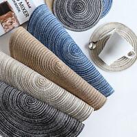 4PCS/Set Kitchen Table Cotton Ramie Round Mat Anti-Skid Hot-Insulation Placemats