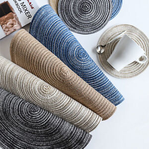 4P 18/36CM Round Placemat Non Slip Jacquard Weaved Dining Table Home Decor Mat