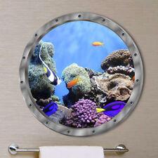 Adesivi murali pesci sott'acqua per decalcomania da bagno decoro per lavatrice C