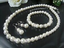 Schmuckset Collier Ohrringe Armband 3-Teile Perlen creamweiß Perlenschmuck S1233