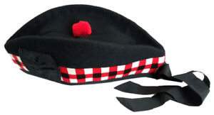 Glengarry Hat Scottish Wool Piper Bonnet Triple Diced Highland Scots Cap Pom