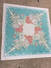 "VTG MC Tablecloth Square 50"" X 54"" Aqua Floral Cottage Country Farm Kitchen"