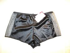 Donna L'Oren Black boyshort panty with lace sheer sides Low Rise NWT LG