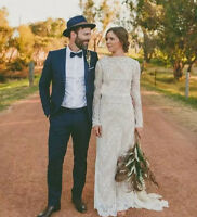 Modest Full Lace Sheath Wedding Dresses Country Boho Long Sleeves Bridal Gowns
