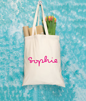 Personalised Tote Bag Canvas Cotton Shopper Shopping Any Name Custom Gift
