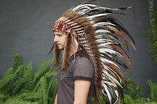 Medium Indian Headdress, Native American chief, Hat Chicken Feather War bonnet